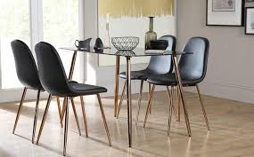 Copper Dining Room Tables Horizon Black Glass Dining Table With 4 Chairs Copper