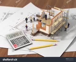 house open interior on top blueprints stock illustration 259385300