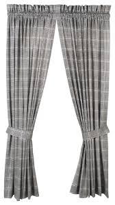 plaid print cotton twill panel curtains farmhouse curtains
