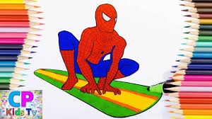 spiderman surfboard coloring pages color spiderman