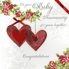 finished ruby anniversary card large luxury card karenza