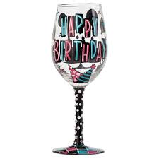wine birthday happy birthday handpainted wine glass 15 oz wine