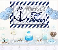 Personalized Photo Backdrop Nautical Birthday Personalized Backdrop Anchor Birthday Cake