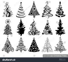 set classic trees 15 designs stock vector 42134581