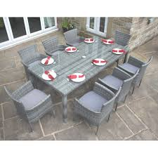 Grey Rattan Outdoor Furniture by Outdoor 8 Seater Garden Furniture Dining Set In Grey