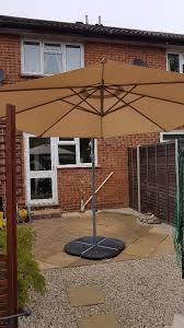 Homebase Patio Almost New Banana Parasol Garden Patio Umbrella And Support