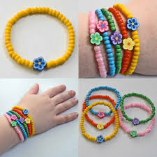 little girls bracelet yellow beads blue flower perfect for your
