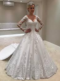 satin wedding dresses buy a line v neck court sleeves ivory satin
