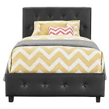 Faux Leather Bed Frames Dalia Faux Leather Bed Black Room Target