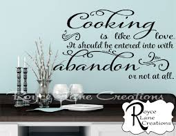 cooking is like love kitchen quote kitchen wall decal