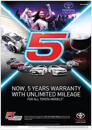 toyota models 5 year unlimited mileage warranty for toyota u0026 lexus vehicles