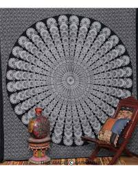 black and white indian mandala tapestry wall hanging bedspread