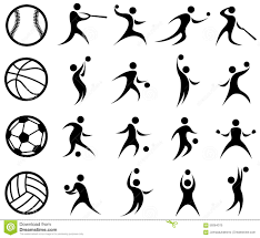 sports silhouette basketball volleyball stock photo image 34756910