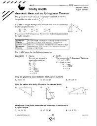 geometric mean and the pythagorean theorem 10th grade worksheet
