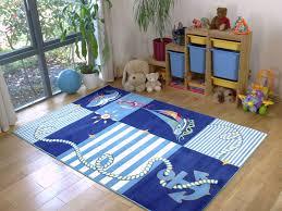 Boys Rug Childrens Soft Blue White Kids Sea Adventures Boys Girls Rug 8020