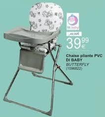 chaise haute cora cora promotie chaise pliante pvc di baby butterfly di baby hoge