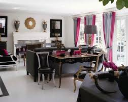 Gray And Pink Curtains Beautify Your Cutie Living Room Design With Pink Curtain Black