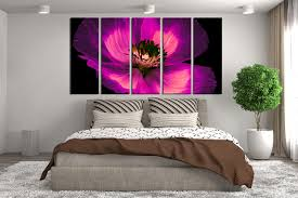 Piece Multi Panel Canvas Purple Flower Canvas Photography - Flower designs for bedroom walls