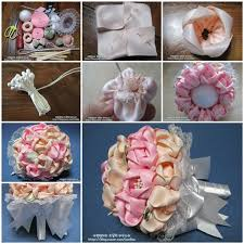 how to make a wedding bouquet wedding diy satin ribbon flower bridal bouquet with bow
