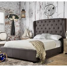 Furniture Of America Bedroom Sets Furniture Of America Draviosa Padded Flax Wingback Platform Bed