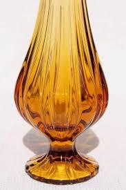 Vintage Orange Glass Vase Vintage Art Glass Vases Tall Mod Vase Collection In Amber Orange