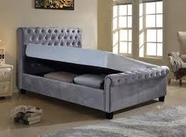 king size ottoman beds uk flair furnishings lola 5ft kingsize silver fabric ottoman bed frame