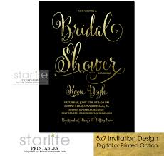 fancy invitations black and gold bridal shower invitation fancy script
