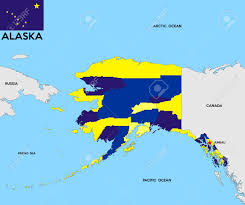 United States Map Alaska by United States Of America Alaska Republic Political Map With Flag