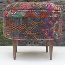 vintage overdyed rug upholstered square ottoman pink furniture