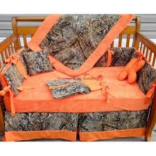 blind camouflage and orange minky dot crib bedding set