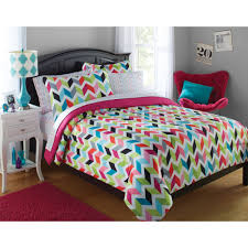 pink and blue girls bedding your zone bright chevron bed in a bag bedding set walmart com