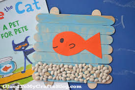 popsicle stick fish bowl pete the cat kid craft glued to my crafts
