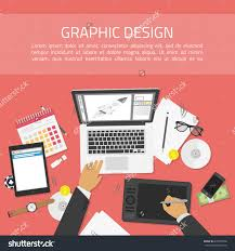 flat design vector illustration of modern creative office desk