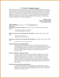 Template For Academic Resume Academic Cv Examples Letter Format Template