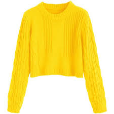 yellow sweater cable knit panel pullover cropped sweater yellow 18 liked on