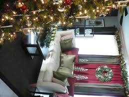 for christmas red and green curtains and putting garland above