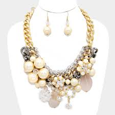 flower necklace set images Chunky flower necklace set focused fashions jpg
