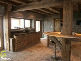 porte de cuisine en bois brut cuisine meuble en vieux bois brossã menuiserie agencement gerard