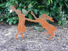 Garden Art Projects Rusty Hare Boxing Hare Garden Art Hare Gift Boxing Hare