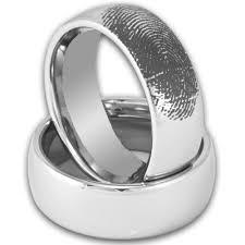 8mm domed tungsten ring w custom engraved fingerprint mens