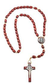 mens st benedict crucifix rosary with cherry wooden beads made