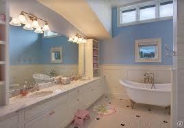 Kid Bathroom Ideas - traditional kids bathroom with double sink u0026 penny tile floors