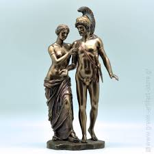 Greek God Statues by Aphrodite And Aris Mars Handmade Bronze Plated Statue 32cm