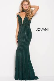 green long fitted embellished low v back prom dress with choker