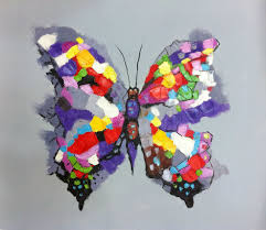 colourful butterfly painted high quality modern abstract
