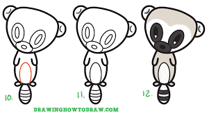 learn how to draw a super cute cartoon lemur easy step by step
