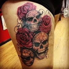and skull on leg tattoomagz