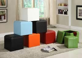 Colored Ottoman Organizer Cube Storage Ottoman Footstools Poufs Pu Leather