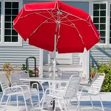 Striped Patio Umbrella 9 Ft by 7 5 Ft Frankford Acrylic Fiberglass Patio Umbrella With Valance
