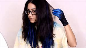 Best Temporary Hair Color For Dark Hair How To Blue Ombre Hair W Garnier Color Styler No Bleach Youtube